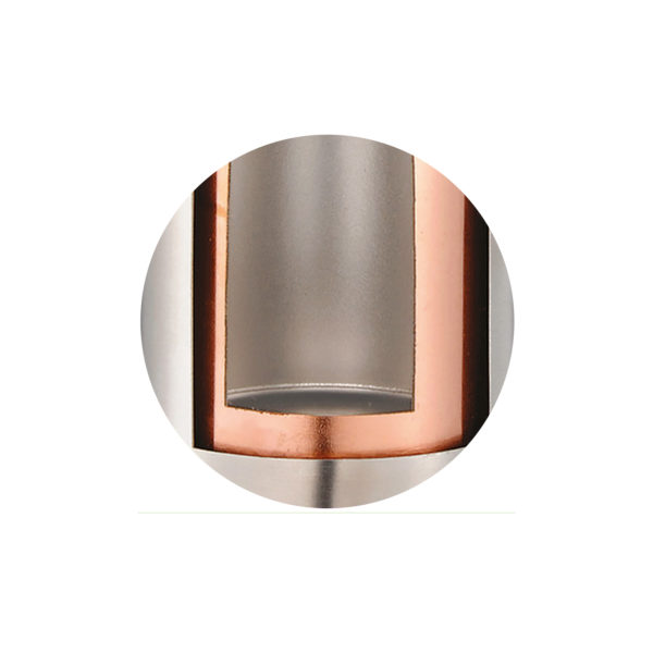 Copper plated internal wall