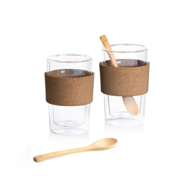 Double Walled Glasses & Bamboo Teaspoons