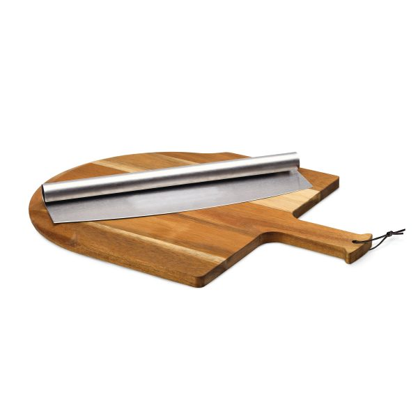 Acacia Wood Board & Stainless Steel Cutter