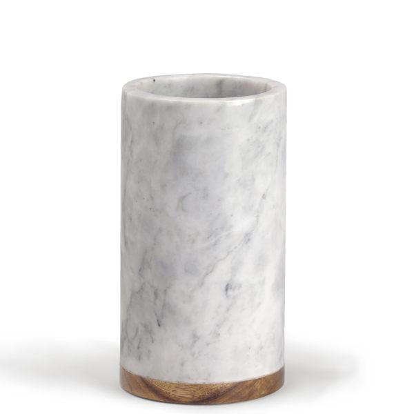 Marble column with Acacia wood base